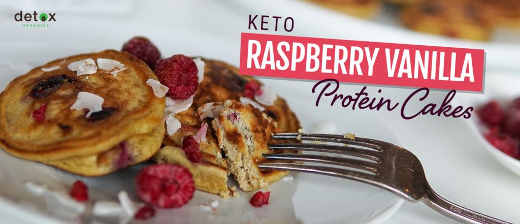 Keto Raspberry Vanilla Protein Cakes Header Image
